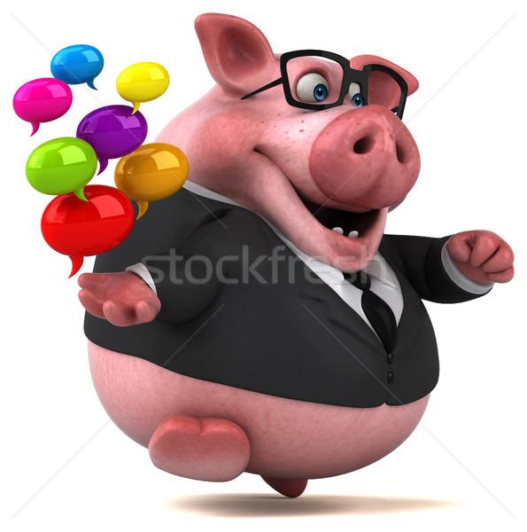 весело свинья 3d иллюстрации бизнесмен костюм жира Сток-фото © julientromeur
