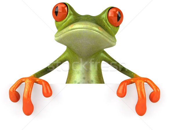 Stock photo: Frog with a blank sign