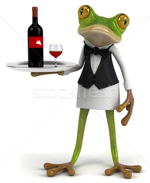 Francuski żaba charakter zielone zwierząt kelner Zdjęcia stock © julientromeur