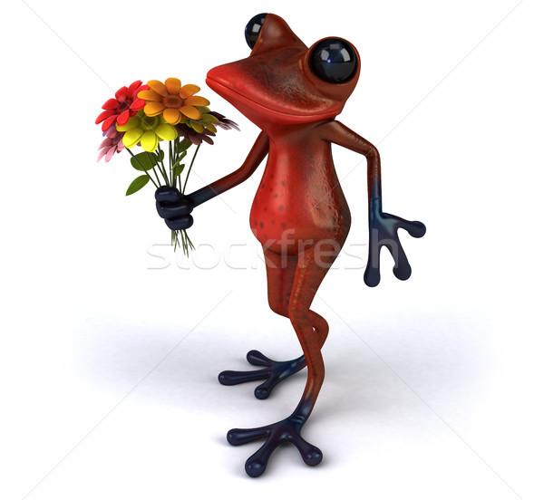 Jókedv béka piros trópusi virágcsokor 3D Stock fotó © julientromeur