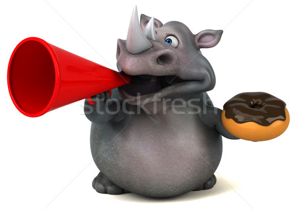 Foto stock: Diversão · rinoceronte · ilustração · 3d · chocolate · gordura · animal