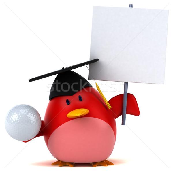 Сток-фото: красный · птица · 3d · иллюстрации · гольф · оранжевый · груди
