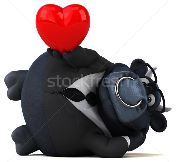 Czarny byka 3d ilustracji działalności serca biznesmen Zdjęcia stock © julientromeur