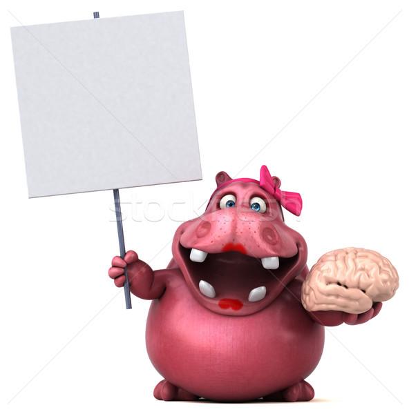 Rosa hipopótamo ilustração 3d diversão gordura gráfico Foto stock © julientromeur