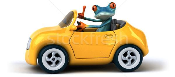 Diversão sapo ilustração 3d carro azul ambiente Foto stock © julientromeur