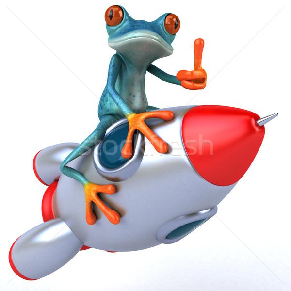 Eğlence kurbağa 3d illustration uzay roket çevre Stok fotoğraf © julientromeur