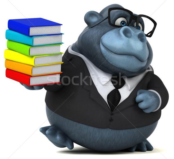Stok fotoğraf: Eğlence · goril · 3d · illustration · kitaplar · okul · takım · elbise