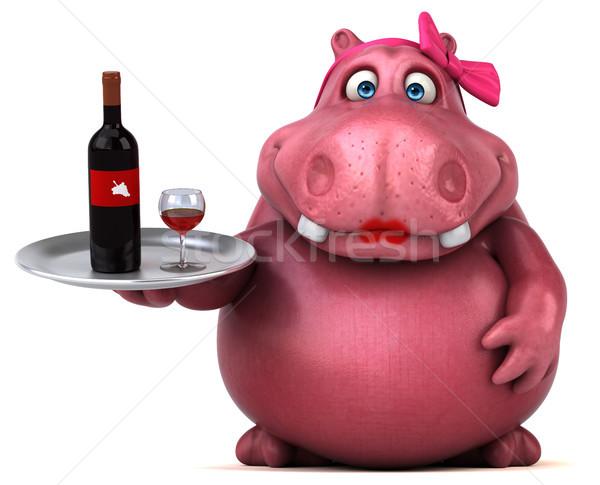розовый гиппопотам 3d иллюстрации пить весело красный Сток-фото © julientromeur