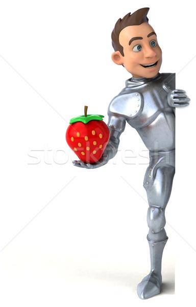 Leuk ridder aardbei digitale soldaat helm Stockfoto © julientromeur