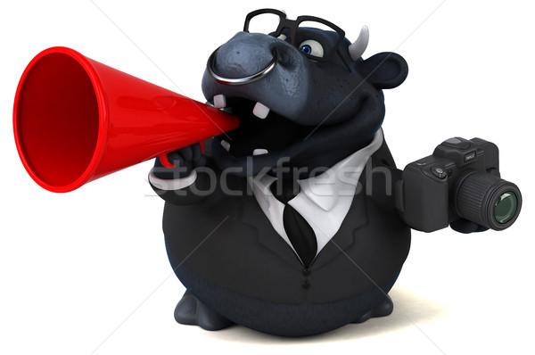 Czarny byka 3d ilustracji działalności biznesmen gospodarstwa Zdjęcia stock © julientromeur