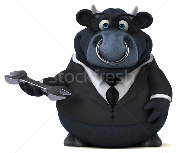 Zwarte stier 3d illustration business zakenman bril Stockfoto © julientromeur