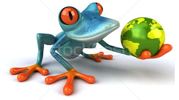 Сток-фото: весело · лягушка · синий · планеты · тропические · 3D