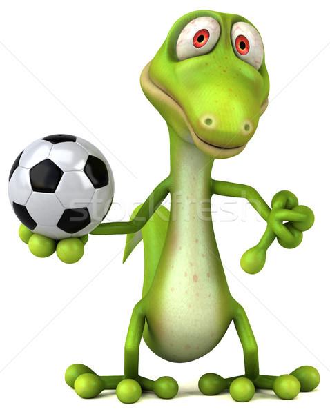 楽しい トカゲ サッカー 緑 色 動物 ストックフォト © julientromeur