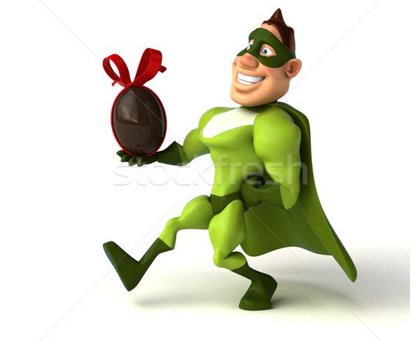 Zabawy superhero człowiek ciało czekolady jaj Zdjęcia stock © julientromeur