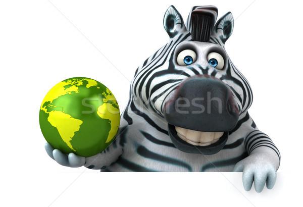 Eğlence zebra 3d illustration Afrika gezegen hayvan Stok fotoğraf © julientromeur
