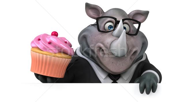 Diversión rinoceronte 3d empresario traje grasa Foto stock © julientromeur