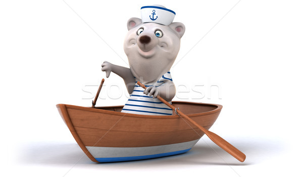 楽しい クマ 海 ボート 白 漫画 ストックフォト © julientromeur