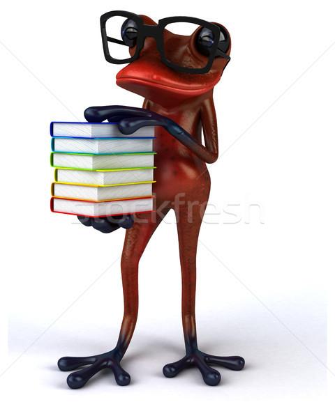 Eğlence kurbağa okul kırmızı tropikal öğrenme Stok fotoğraf © julientromeur