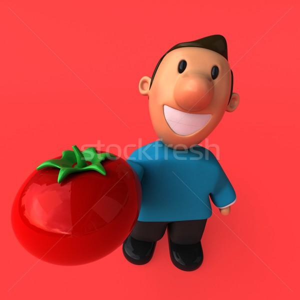 3d ilustracji uśmiech człowiek chłopca pomidorów Zdjęcia stock © julientromeur