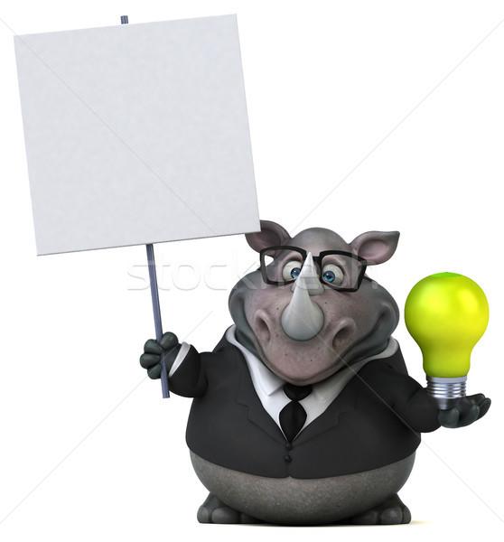 Jókedv orrszarvú 3d illusztráció üzletember zöld öltöny Stock fotó © julientromeur