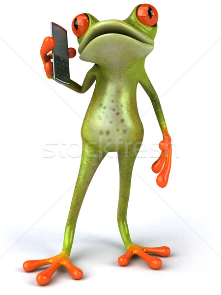 Frog with a mobile phone Stock photo © julientromeur