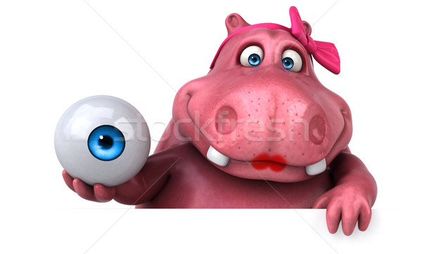 розовый гиппопотам 3d иллюстрации весело жира графических Сток-фото © julientromeur