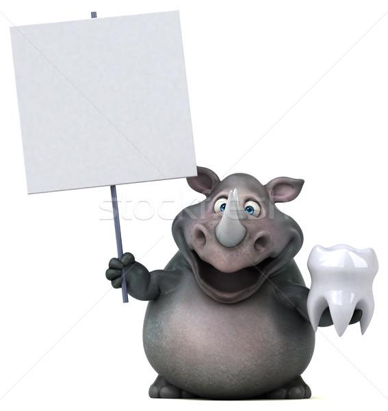 Foto stock: Diversão · rinoceronte · ilustração · 3d · dentes · gordura · animal