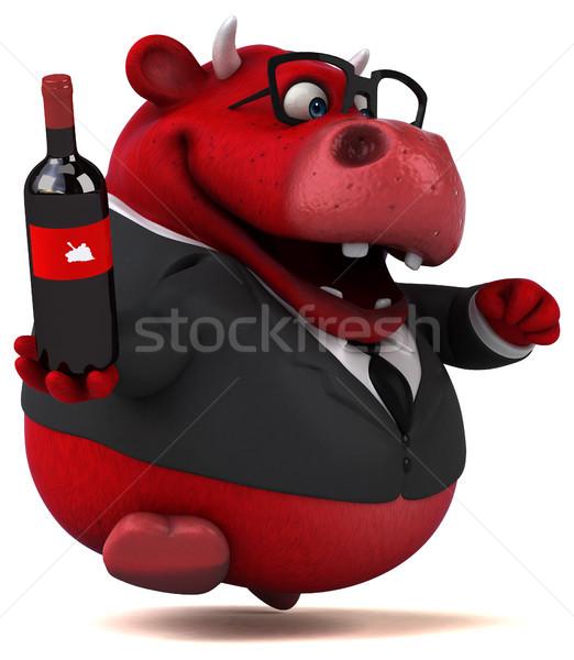 красный бык 3d иллюстрации бизнеса вино волос Сток-фото © julientromeur