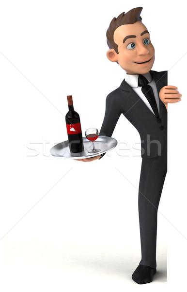 весело бизнесмен пить костюм красный мальчика Сток-фото © julientromeur