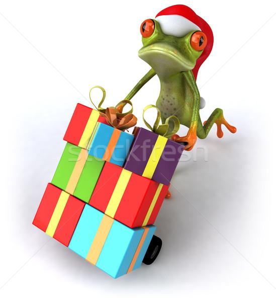 ストックフォト: カエル · 贈り物 · 緑 · クリスマス · 環境 · 実例