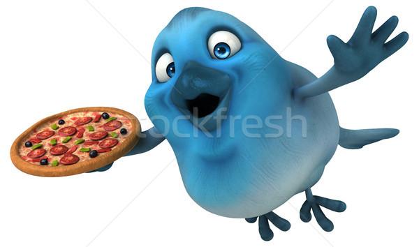 Blauw vogel pizza communicatie cartoon dieet Stockfoto © julientromeur