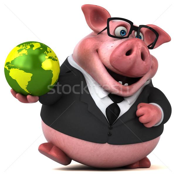 Eğlence domuz 3d illustration takım elbise çiftlik finanse Stok fotoğraf © julientromeur