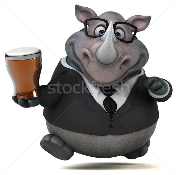 весело носорог 3d иллюстрации пива бизнесмен пить Сток-фото © julientromeur