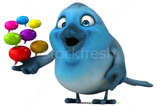 синий птица связи СМИ Cartoon пузыря Сток-фото © julientromeur