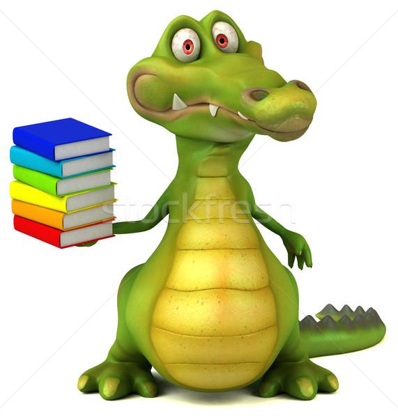 Krokodil jókedv könyvek boldog terv művészet Stock fotó © julientromeur