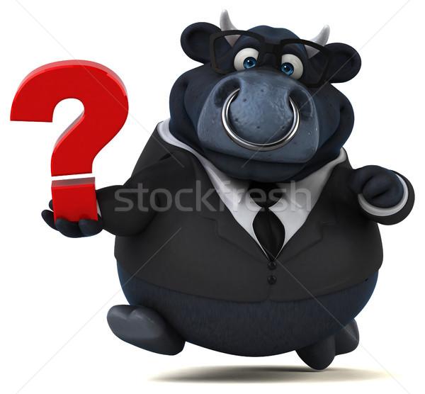 Сток-фото: черный · бык · 3d · иллюстрации · бизнеса · корова · бизнесмен