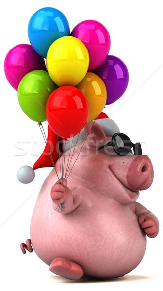 весело свинья 3d иллюстрации жира Рождества розовый Сток-фото © julientromeur