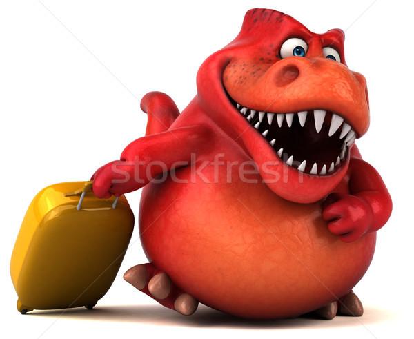 весело динозавр 3d иллюстрации зубов животного чемодан Сток-фото © julientromeur