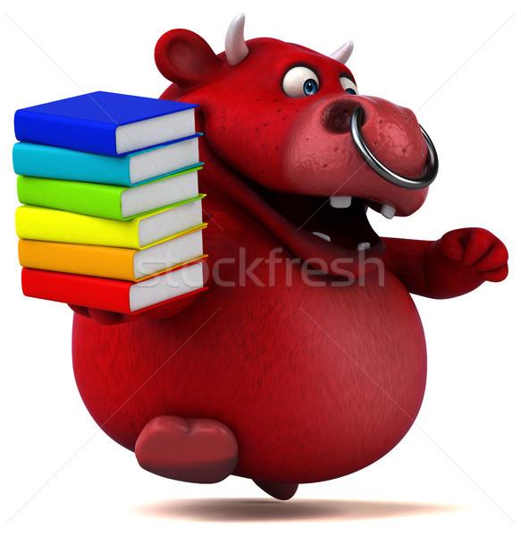 Kırmızı boğa 3d illustration kitap saç inek Stok fotoğraf © julientromeur