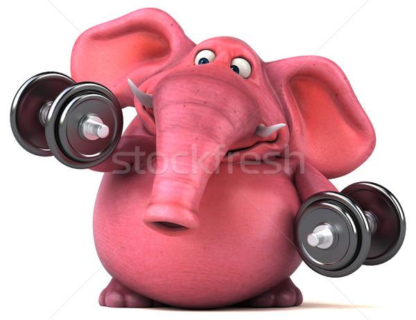 Różowy słoń 3d ilustracji sportu fitness dżungli Zdjęcia stock © julientromeur