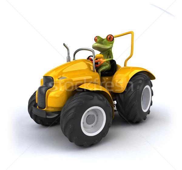 ストックフォト: 楽しい · カエル · 国 · トラクター · 農家 · 機械