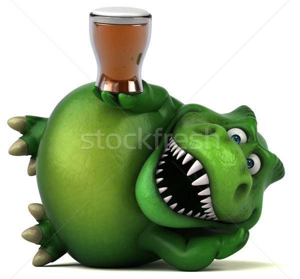 Foto stock: Diversão · dinossauro · ilustração · 3d · beber · dentes · animal
