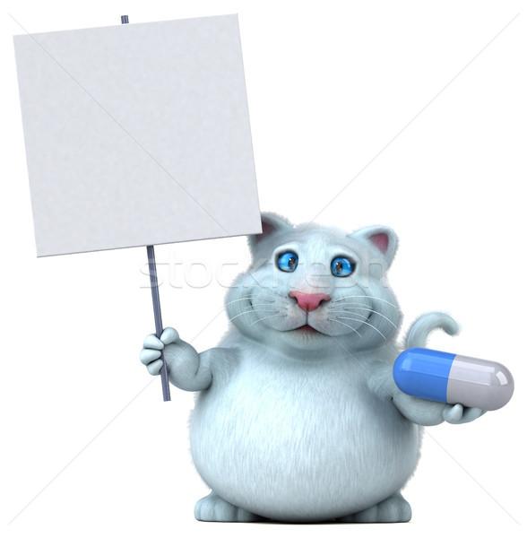 Leuk kat 3d illustration geneeskunde witte cartoon Stockfoto © julientromeur