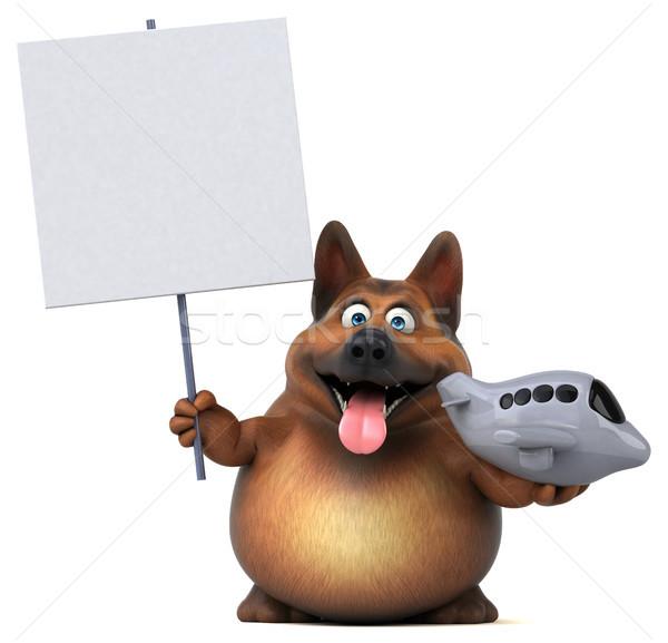 Foto stock: Diversão · pastor · cão · ilustração · 3d · viajar · avião