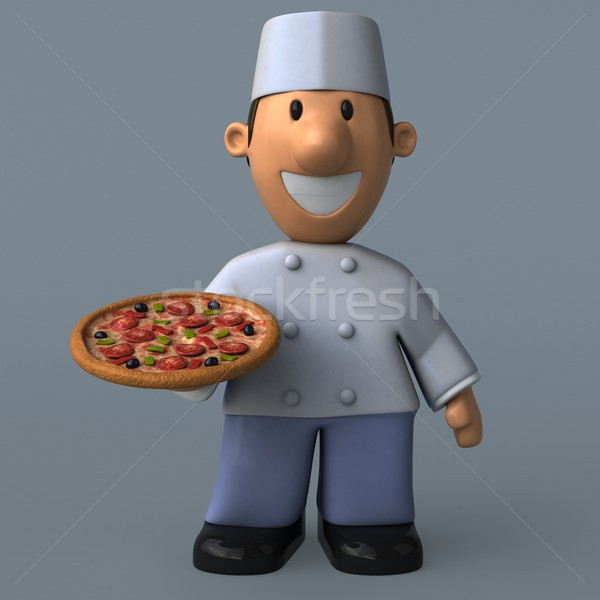 Foto d'archivio: Cartoon · Baker · illustrazione · 3d · pizza · cuoco