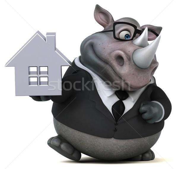 Diversão rinoceronte ilustração 3d casa casa empresário Foto stock © julientromeur