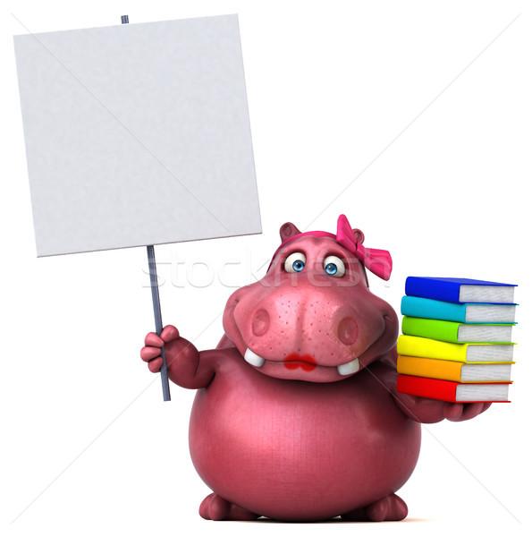 розовый гиппопотам 3d иллюстрации книга весело жира Сток-фото © julientromeur