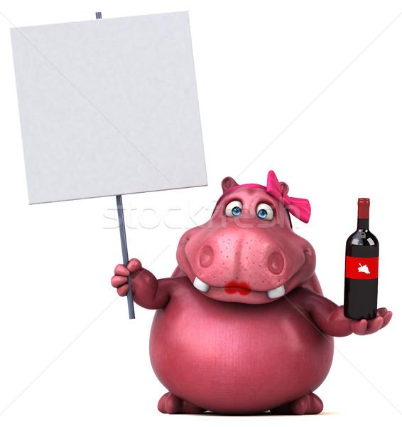 Rózsaszín víziló 3d illusztráció ital kövér állat Stock fotó © julientromeur