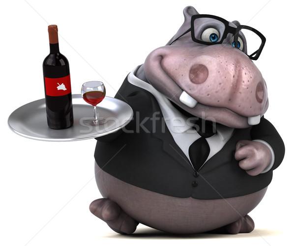 весело гиппопотам 3d иллюстрации бизнеса пить костюм Сток-фото © julientromeur