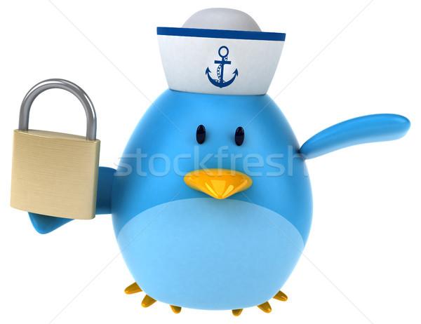Blauw vogel 3d illustration veiligheid kunst teken Stockfoto © julientromeur